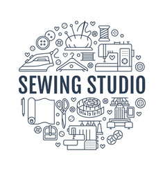 sewing equipment hand made studio supplies banner vector image