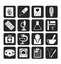 Silhouette Healthcare and Medicine icons vector