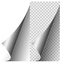 Silver metallic realistic paper page corner vector
