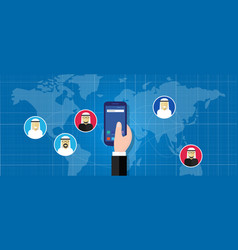smartphone connected technology arab people vector image
