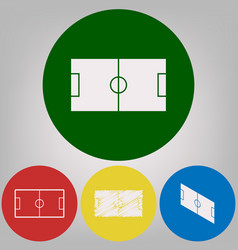 soccer field 4 white styles of icon at 4 vector image