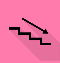 stair down with arrow black icon with flat style vector image
