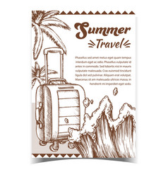 Summer travel suitcase on wheels poster vector