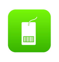 tag with bar code icon digital green vector image