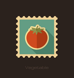 tomato flat stamp vegetable vector image