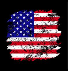 Usa flag grunge brush background old brush flag vector