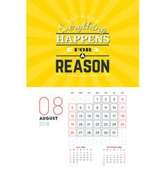 Wall calendar template for august 2018 design vector