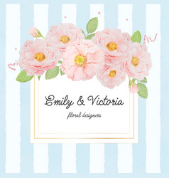 watercolor pink rose bouquet on gold square frame vector image