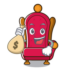With money bag king throne character cartoon vector