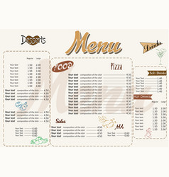 With nice menu in retro style vector