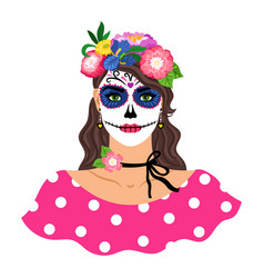 woman with sugar skull make up vector image