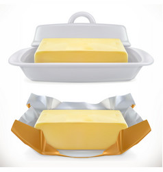 butter 3d realistic icon vector image