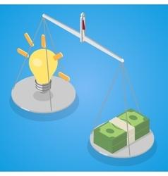 Idea and money balanced on libra vector