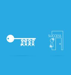 key of success with businessman symbol teamwork vector image