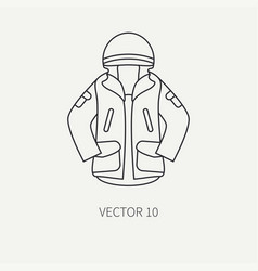 line flat hunt and camping icon khaki vector image vector image
