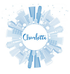 outline charlotte skyline with blue buildings and vector image