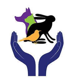 pet protection sign hand in people encouragement h vector image