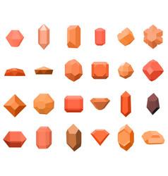 set of 16 diamonds gemstone icons set vector image