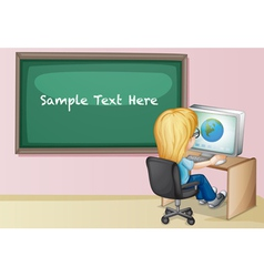 Student at computer vector image