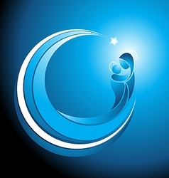 Christmas icon of Mary with baby Jesus vector image vector image