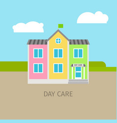 colored urban day care building vector image vector image