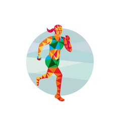 Female Triathlete Marathon Runner Low Polygon vector image vector image