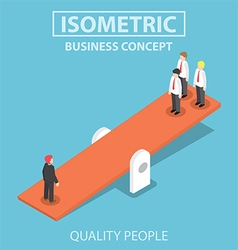 Isometric quality businessman weighing more than vector image vector image