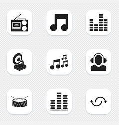 set of 9 editable audio icons includes symbols vector image