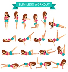 Set of cardio exercise for slim legs workout vector image