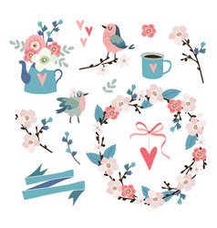 set of spring easter or wedding icons clip-arts vector image vector image