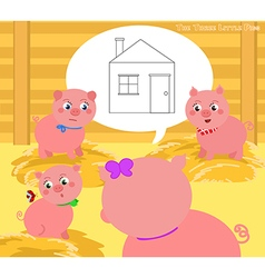The three little pigs 2 vector image