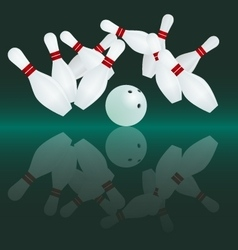 White bowling ball is making a strike vector image