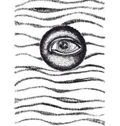 All seeing eye abstract ink drawing vector