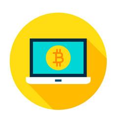 laptop bitcoin circle icon vector image