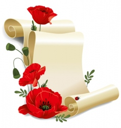 roll of old paper and poppies vector image vector image