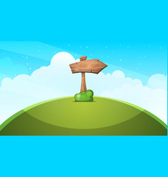 wood arrows cartoon landscape vector image vector image