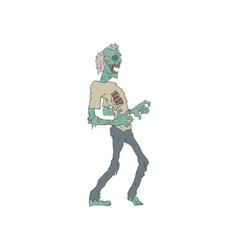 Barefoot Creepy Zombie Outlined Drawing vector image