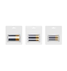 Black yellow golden alkaline batteries in packed vector