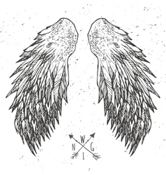 Grunge wings t-shirt graphics vector image
