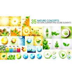mega collection of nature leaves - autumn and vector image vector image