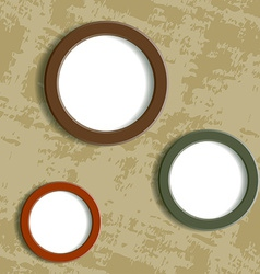 three round frame on grungy background vector image vector image