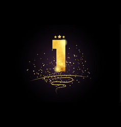 1 number icon design with golden star and glitter vector