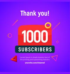 1000 followers post 1k celebration one vector