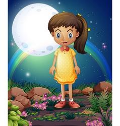 A little girl in rocky garden vector