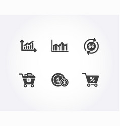 add products usd coins and money diagram icons vector image