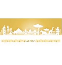 Africa skyline landmarks silhouette desert color vector