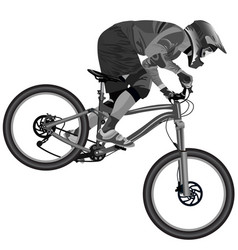An image of a cyclist descending on a mountain vector