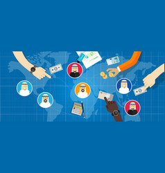 arabic business people arab connected in vector image