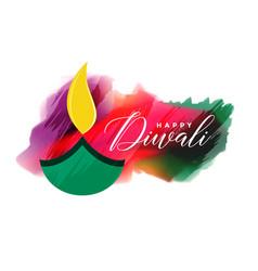 artistic watercolor diwali background design vector image