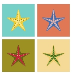 Assembly flat tropical starfish vector